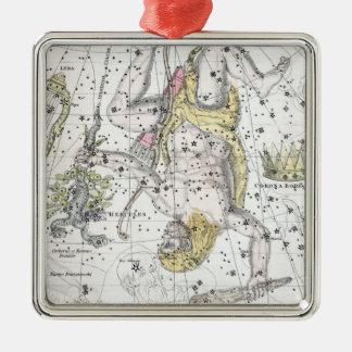 Ornement Carré Argenté Carte du plat VIII de constellations