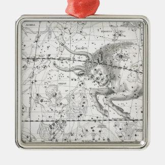Ornement Carré Argenté Carte du plat XIV de constellations