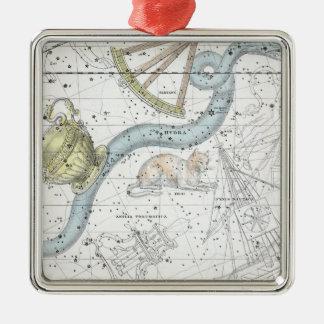 Ornement Carré Argenté Carte du plat XXVI de constellations
