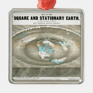Ornement Carré Argenté Carte plate de la terre