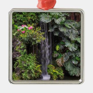 Ornement Carré Argenté Cascade de jardin luxuriant, Chine
