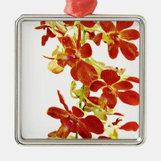Ornement Carré Argenté Cascade d'orchidées oranges