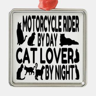 Ornement Carré Argenté Cavalier de moto d'amoureux des chats