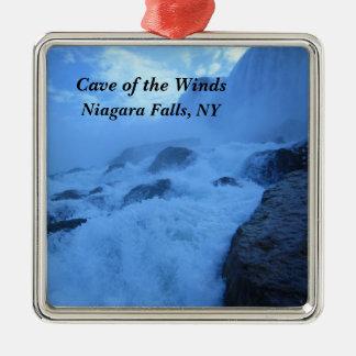 Ornement Carré Argenté Caverne des vents, chutes du Niagara, NY
