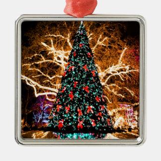 Ornement Carré Argenté célébration d'arbre et de lumière de Noël