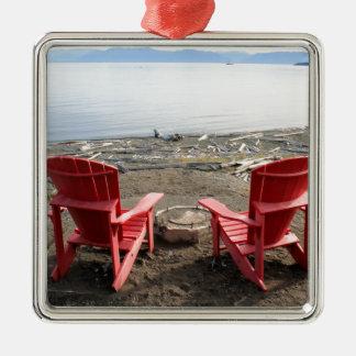 Ornement Carré Argenté chaises sur la plage