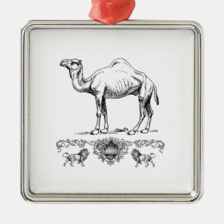 Ornement Carré Argenté chameau de fantaisie de lion