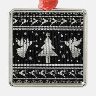 Ornement Carré Argenté Chandail laid de Noël