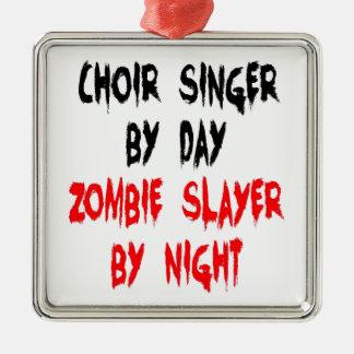 Ornement Carré Argenté Chanteur de choeur de tueur de zombi
