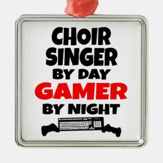 Ornement Carré Argenté Chanteur de choeur par le Gamer de jour par nuit