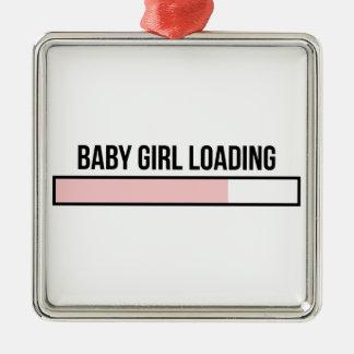 Ornement Carré Argenté Chargement de bébé