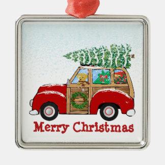 Ornement Carré Argenté Chariot vintage de Woody de Noël apportant à la