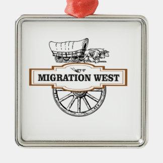 Ornement Carré Argenté chariots occidentaux de migration