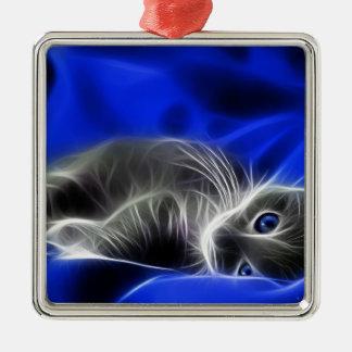 Ornement Carré Argenté chat bleu