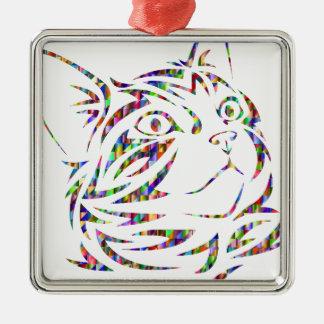 Ornement Carré Argenté chat coloré