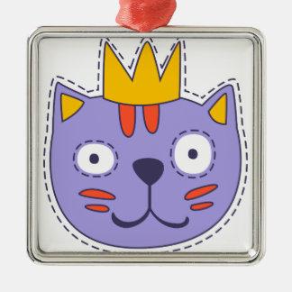 Ornement Carré Argenté Chat dans une couronne