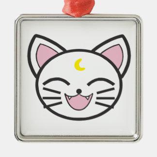 Ornement Carré Argenté chat de lune