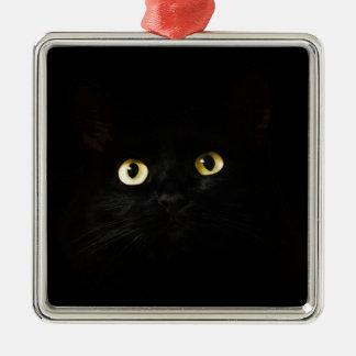 Ornement Carré Argenté Chat de plots réflectorisés de vue de chat noir