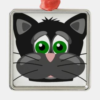 Ornement Carré Argenté Chat noir aux yeux verts