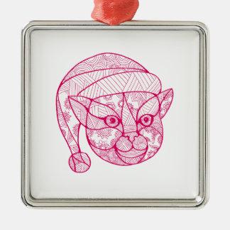 Ornement Carré Argenté Chat portant le mandala de casquette de Père Noël