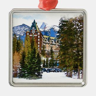 Ornement Carré Argenté Château de montagne rocheuse - Banff Canada