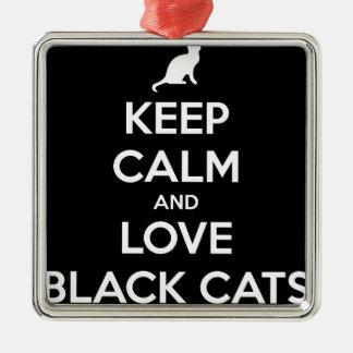 Ornement Carré Argenté Chats noirs d'amour