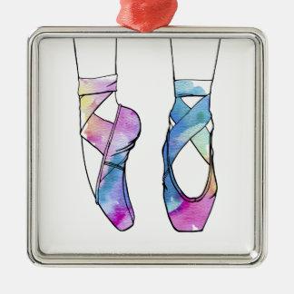 Ornement Carré Argenté Chaussures de ballet mignonnes de danse