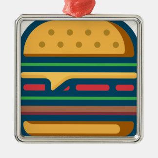 Ornement Carré Argenté Cheeseburger de Charbroiled