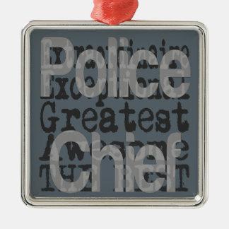 Ornement Carré Argenté Chef de police Extraordinaire