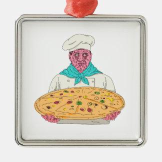 Ornement Carré Argenté Chef de zombi tenant l'art de crasse de tarte de