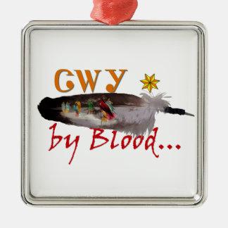 Ornement Carré Argenté Cherokee par sang