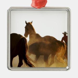 Ornement Carré Argenté cheval de lasso de cowboy