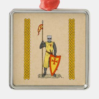 Ornement Carré Argenté Chevalier de croisé, début du 13ème siècle