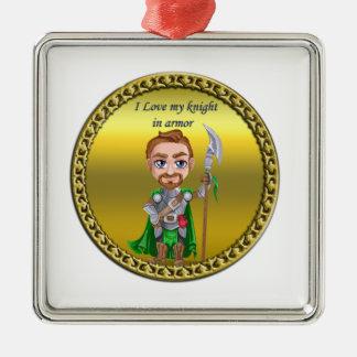 Ornement Carré Argenté Chevalier vert et argenté dans son armure et épée
