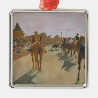 Ornement Carré Argenté Chevaux de course d'Edgar Degas | devant les