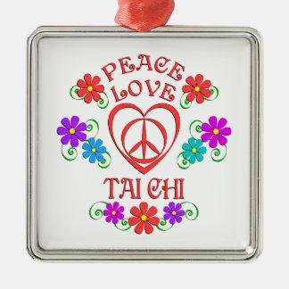 Ornement Carré Argenté Chi de Tai d'amour de paix