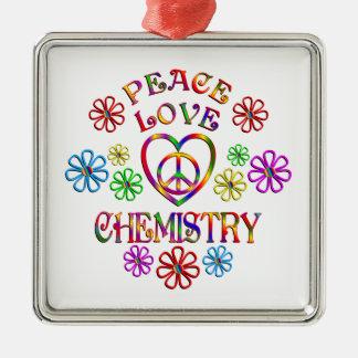 Ornement Carré Argenté Chimie d'amour de paix