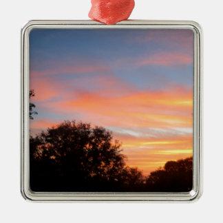 Ornement Carré Argenté ciel coloré brillant d'oct. de coucher du soleil