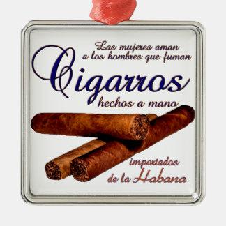 Ornement Carré Argenté Cigarros - Cirars