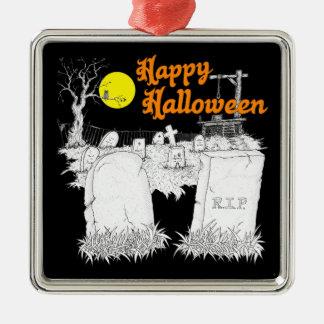 Ornement Carré Argenté cimetière de Halloween