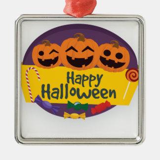 Ornement Carré Argenté Citrouille heureux de Halloween