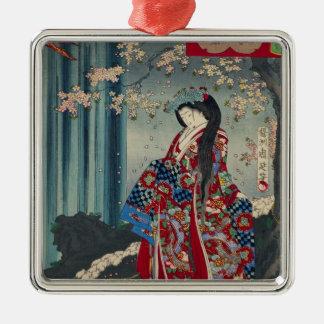 Ornement Carré Argenté Classique japonais de cool d'art de Madame Japon
