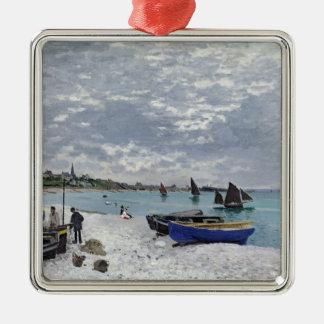 Ornement Carré Argenté Claude Monet   la plage chez Sainte-Adresse
