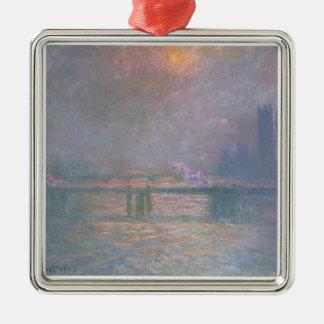 Ornement Carré Argenté Claude Monet | la Tamise avec la croix de Charing