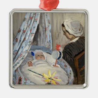 Ornement Carré Argenté Claude Monet | le berceau, Camille avec le fils