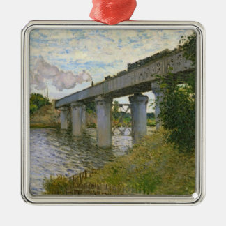 Ornement Carré Argenté Claude Monet | le pont de chemin de fer à