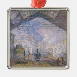 Ornement Carré Argenté Claude Monet | le St Lazare, 1877 de Gare