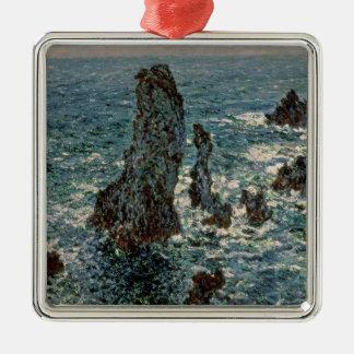 Ornement Carré Argenté Claude Monet   les roches au Belle-Ile, 1886