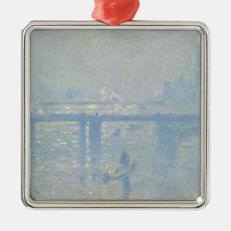 Ornement Carré Argenté Claude Monet - pont croisé de Charing. Art