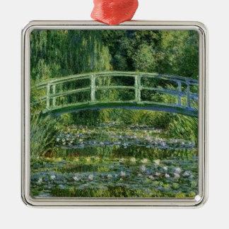 Ornement Carré Argenté Claude Monet - pont japonais